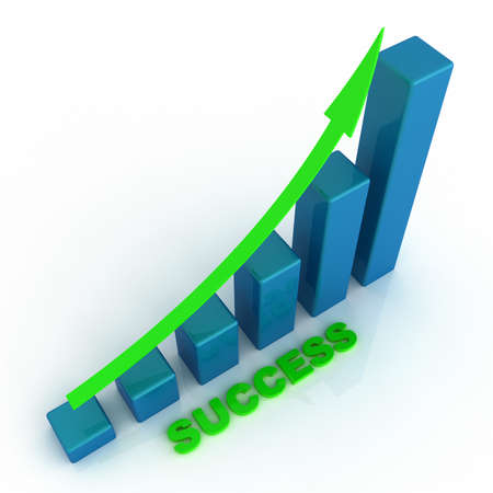 Business graph with rising arrow
