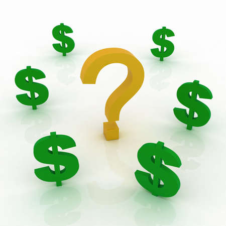 Question mark and dollars sign Stock Photo