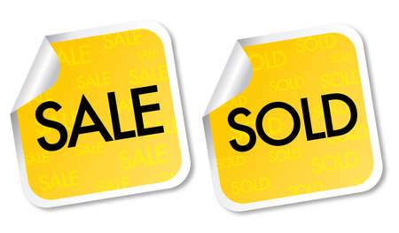 Yellow sale and sold stickers Vector