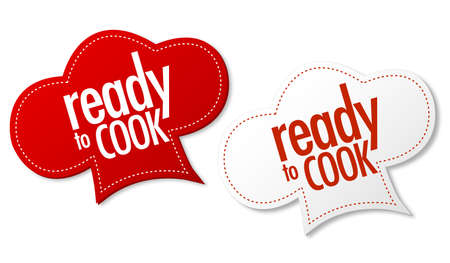 Ready to cook stickers Vector