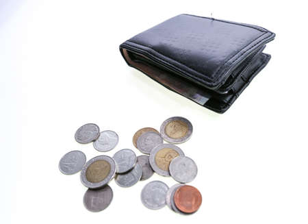 baht: wallet and coin, baht of thailand Stock Photo
