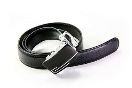 girdle: Black belt on white background, isolated Stock Photo