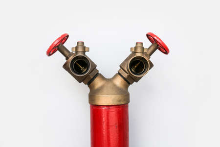 junction pipe: Fire hydrant Y shape on white background Stock Photo