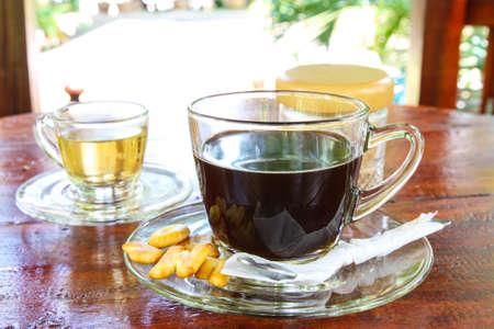 americano: Hot Americano Coffee and Hot tea in graden