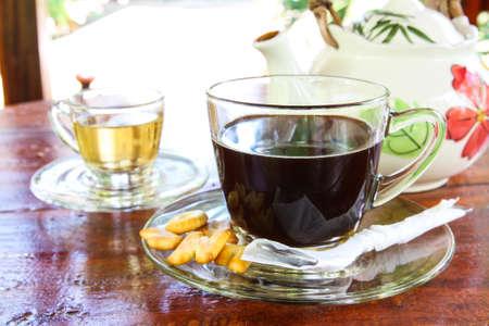 graden: Hot Americano Coffee and Hot tea in graden