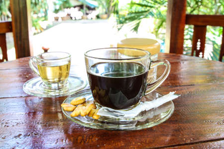 americano: Hot Americano Coffee and Hot tea in graden
