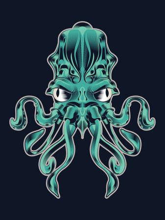 sea monster: Cuttlefish art vector, sea monster