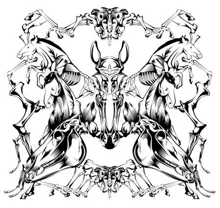 leavings: horse bone sketch black ink on whit background