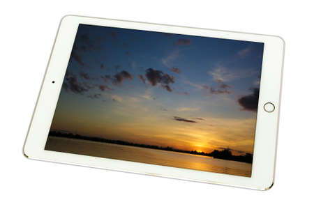 gloaming: Evening sky while Sunset at Tungsarng KHONKAEN IN TABLET on white background., isolated