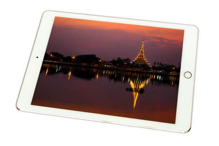 wang: Famous Temple in KhonKaen, Wat Hnong Wang Thailand in tablet on white background., isolated