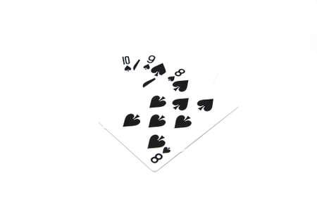 flush: The Sort 8-9-10 Cards Games on white background, Stage Flush.