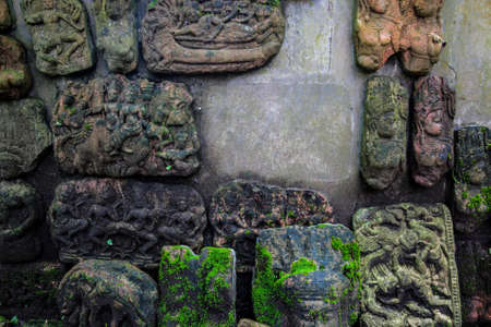 low relief: The low relief sculpture idol Abandoned., Khmer art in Thailand., vintage style. Stock Photo