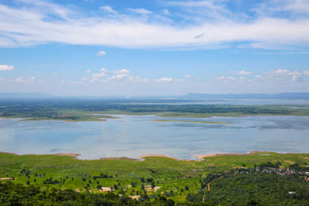 low angles: landscape of Ubolrat dam in Khonkaen Thailand., low season.