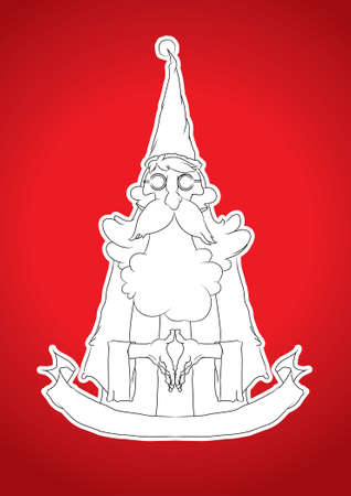 santa cross: thin Santa Cross style on red background., Line drawing.