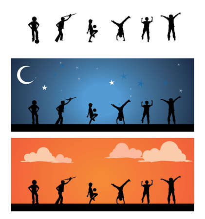 funy: Children silhouettes playground.