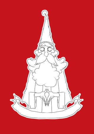 santa cross: thin Santa Cross style full on red background., Line drawing.