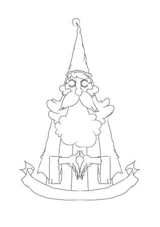 santa cross: thin Santa Cross style., Line drawing. Illustration