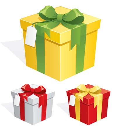 gift: ribbon bend on gift box., vector 3D Illustration