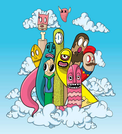 cartoon cloud: worm party