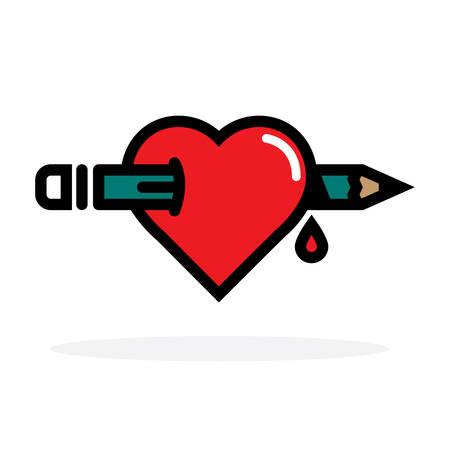 to pierce: Pencil through Heart