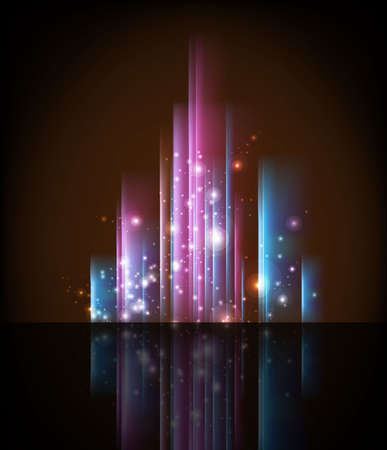 many coloured: Vector - Colored Light Fountain - Abstract Background Illustration, Vector