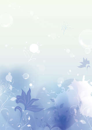 painterly effect: BLUE floral style textures with space