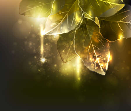 gold leaf: gold leaf light design template Illustration