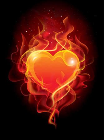 Vector - Heart in Fire. Illustration for design Vectores
