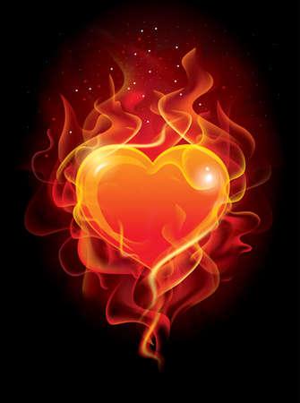 Vector - Heart in Fire. Illustration for design Ilustração