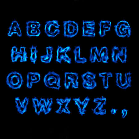 Blue Fire Font Reklamní fotografie - 89926048