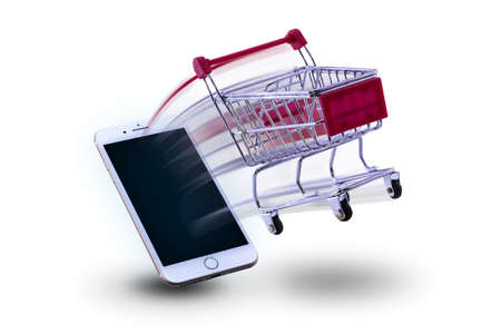 mini cart shopping Ejaculate from smart phone. concept shopping online. Stock fotó