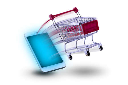 mini cart shopping Ejaculate from smart phone. concept shopping online. Stok Fotoğraf