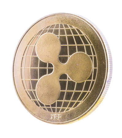 ripple coin. Golden ripple coin isolated on white background., clipping path.