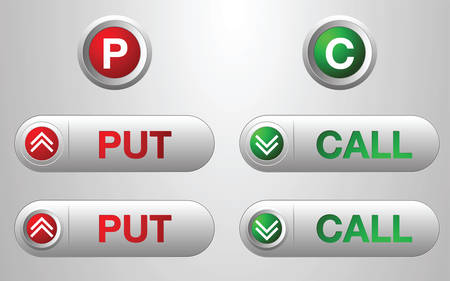 Three red and three green call button for icon design, cconcept option design.
