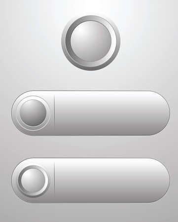 Three white blank button for icon design, element for design.