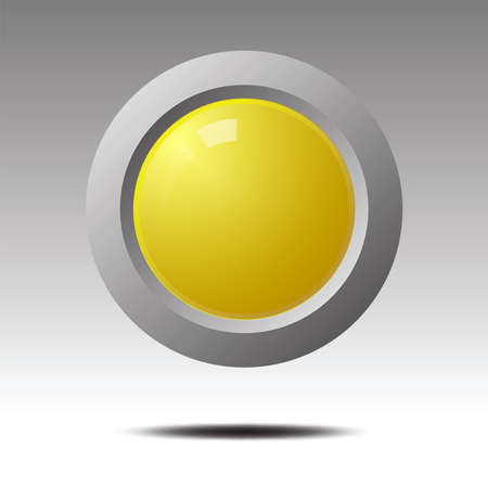 Yellow blank button for icon design., Element for Design.