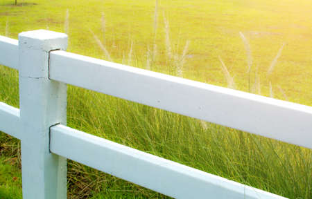 Land for sale., White Boundary barrier Land for sale. Stock Photo