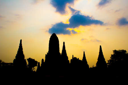 silhouette of The Prang in Wat Chaiwattanaram temple in Ayutthaya Historical Park , Ayutthaya province, Thailand Stock Photo