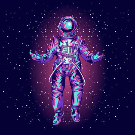 Astronaut in spacesuit on space. Vector illustration. Illustration