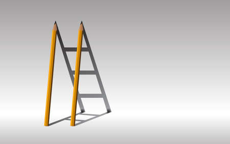 Stairway to success, yellow pencils and shadow staircase, Learning to succeed concept, copy space. Ilustração