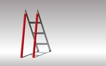 Stairway to success, red Two pencils and shadow staircase, Learning to succeed concept, copy space.  イラスト・ベクター素材
