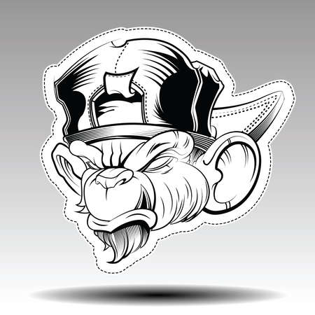 Angry Monkey wearing a cap Illustration