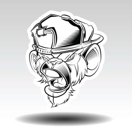 Angry Monkey wearing a cap., tattoo concept.