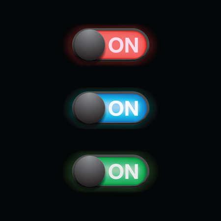 switch set, On sliders, vector elements Illustration