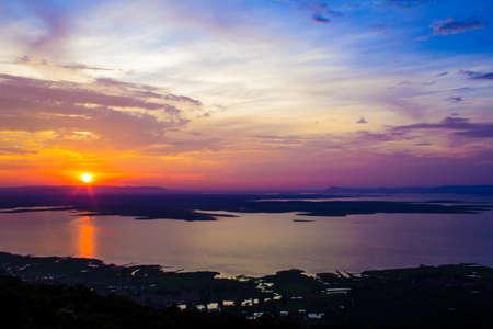 Landscape of Ubonrat dam. Khonkaen Province., Thailand. Sunset Time