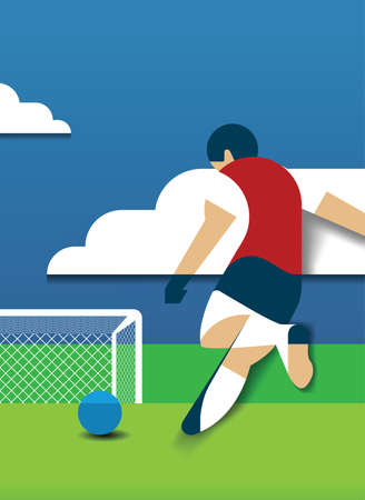 Free kick papercut concept football., soccer.
