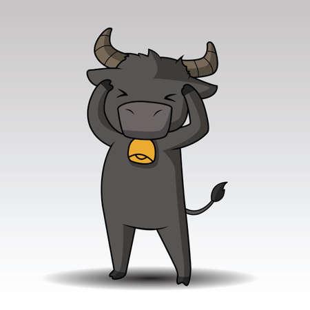 cute buffalo cartoon posing for you design Illustration