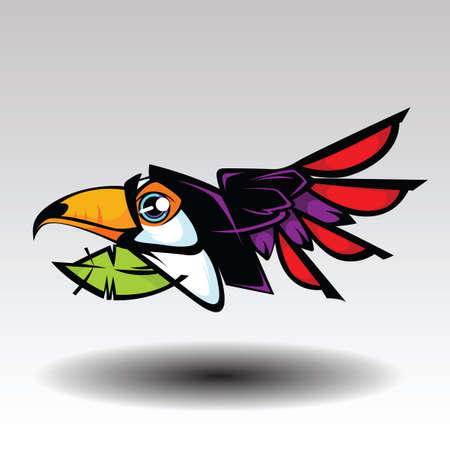 Hornbill Design white background. Illustration