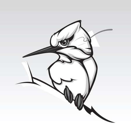 Humming bird design on white background.