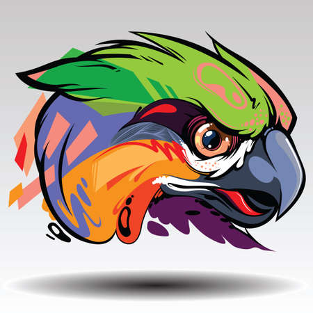 The parrot Design white background. Illustration
